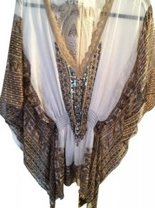 Boston Proper Sheer Beaded Open- Necked Tunic