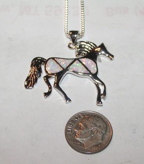 Opal Horse Pendant With Free Chain & Shipping
