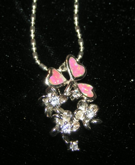 Lovely Pink Opal Floral Pendant Free Chain & Shipping
