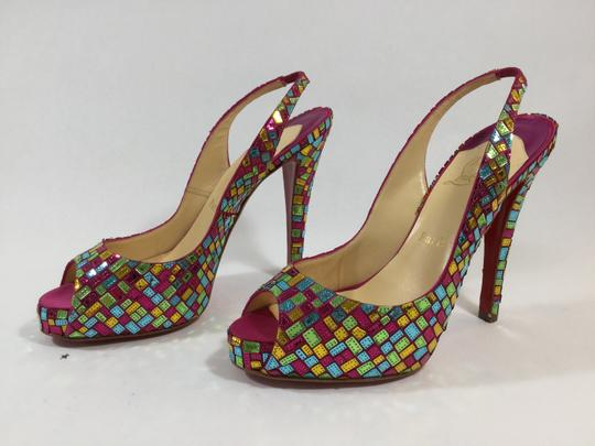 Christian Louboutin Red Bottoms Mosaique Pink Multicolor Pumps