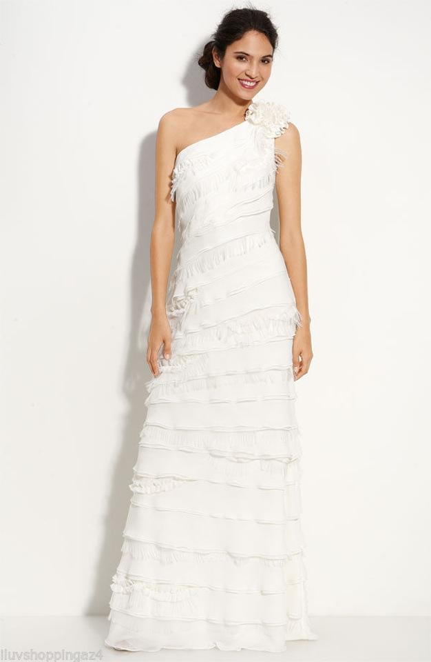 Tadashi Shoji Ivory Layered Chiffon One Shoulder Modern Wedding Dress Size 4 S