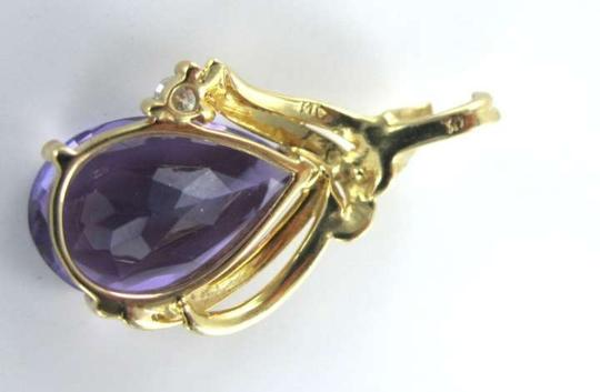 Vintage 14KT YELLOW GOLD PENDANT AMETHYST 1 DIAMOND CHARM TEAR PEAR FINE JEWELRY LUXURY