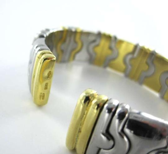 Vintage 18KT YELLOW GOLD BRACELET BANGLE ITALY OPEN CUFF 35.8DWT PARENTESI DESIGN