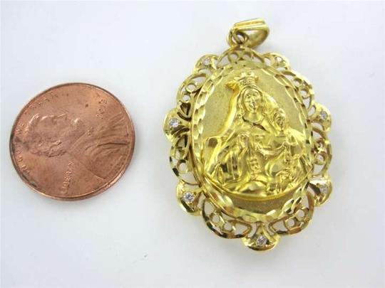 Vintage 18KT YELLOW GOLD PENDANT MARY & CHILD LOCKET CHARM WHITE STONES CHRISTIAN CHURCH