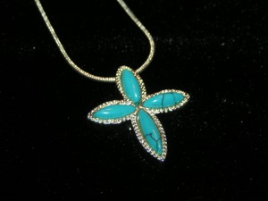 Turquoise Cross Pendant With Free Shipping & Chain