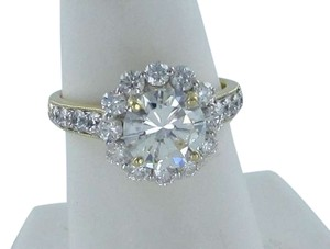 Vintage 18KT YG 1 DIAMOND CENTER 1.66CT 20 DIA RING W/ GIA CERT SZ 6.5
