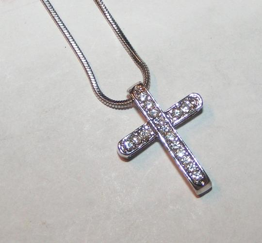 Silver Bogo Free Rhinestone Cross Free Shipping Necklace