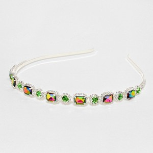 Magnificient Multicolor Square Rhinestone Crystal Accent Silver Headband Jewelry Bridesmaid Wedding Party Hair