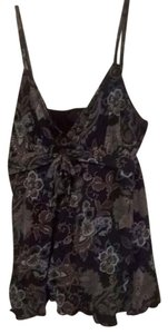 INC International Concepts navy blue and olive floral print Halter Top