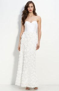 A.B.S. By Allen Schwartz Strapless Rosette Chiffon Gown Wedding Dress