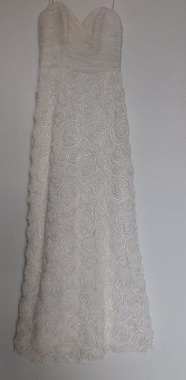 A.B.S. by Allen Schwartz Ivory Silk Blend Strapless Rosette Chiffon Gown Feminine Wedding Dress Size 2 (XS)
