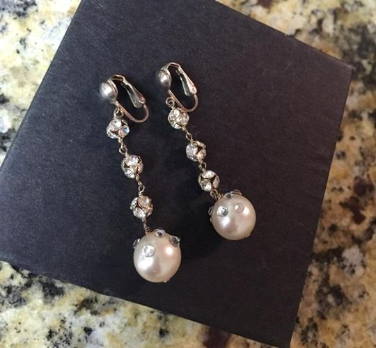 Ivory Crystal Ballroom Clip-on Earrings