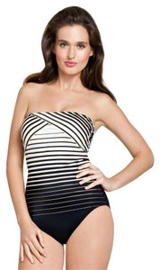 Gottex Size: 8 Striped Bandeau with Removable Straps Swimsuit