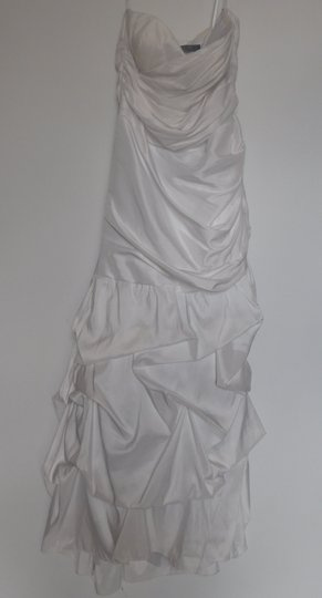 Dalia MacPhee White Polyester Tafetta Mermaid Gown Feminine Wedding Dress Size 12 (L)