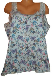 Basic Editions Summer Sleeveless Floral Top Blue