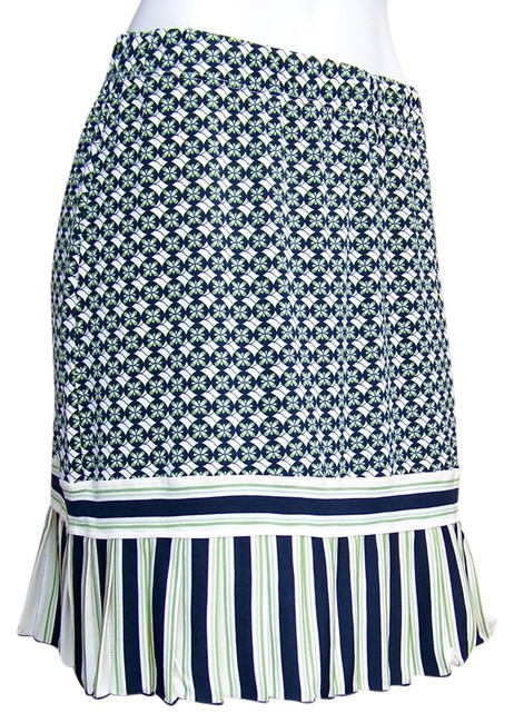 Item - Ivory Navy Blue Green A-line Stretch Ruffle Skirt Size 8 (M, 29, 30)