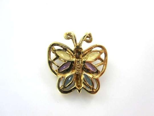 Vintage 14 KT YELLOW GOLD PENDANT BUTTERFLY 1 DIAMOND 0.8DWT MULTI STONES YELLOW PURPLE