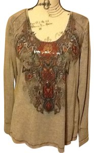 One World Comfortable Sequins Top Grey