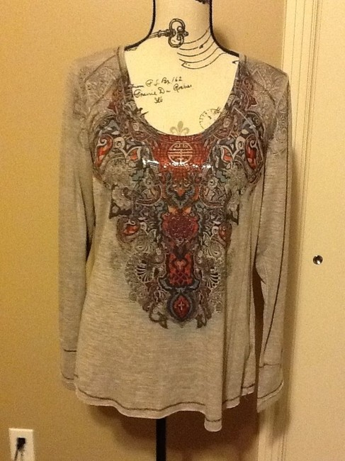 One World Comfortable Sequins Long Sleeve Lightweight Multi-colored Top Grey