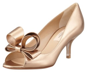 Valentino Bows Open Toe Kitten Heel Gold Bronze Formal