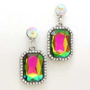Magnificient Multicolor Rhinestone Crystal Accent Silver Earrings Jewelry Bridesmaid Wedding Party Accessory