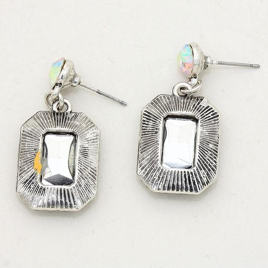 Multicolor Silver Burnished Ab Clear Vitrail Magnificient Rhinestone Crystal Accent Bridesmaid Party Earrings