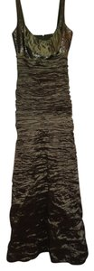 Nicole Miller Ruched Metallic Cocktail Evening Gown Dress