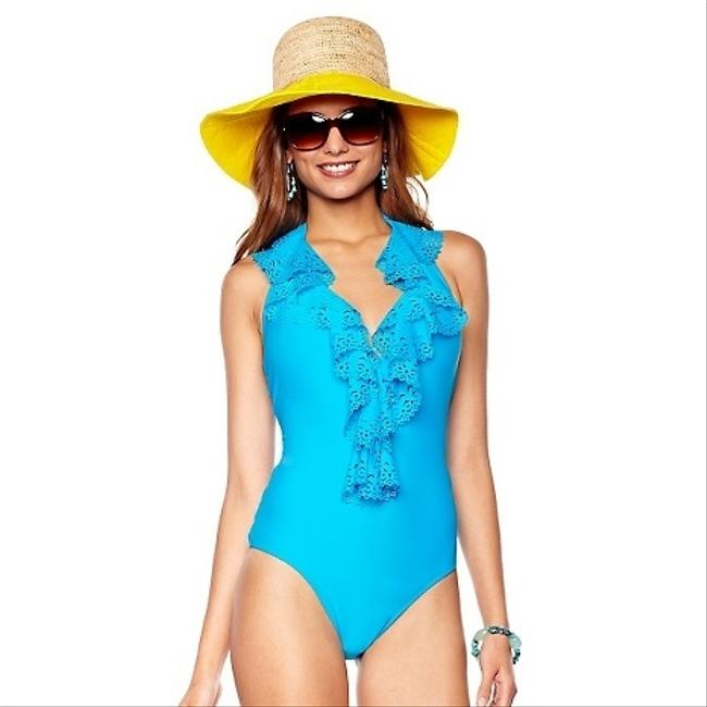 Jessica Simpson Size: SMALL Ruffle Deep V-Neckline Halter Lasecut One-Piece Swimsuit