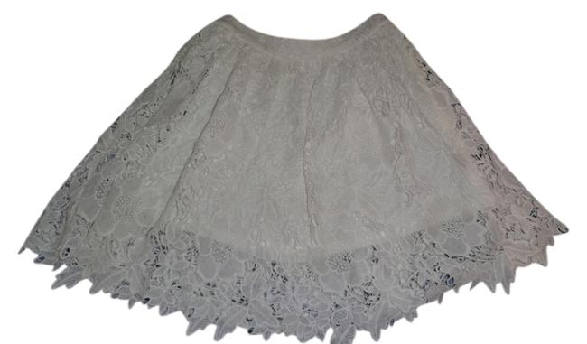 Forever 21 Lace Lined A-line Casual Preppy Mini Skirt white