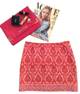 Tracy Reese Ikat Mini Beaded Mini Skirt Salmon & Coral