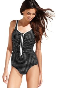 Reebok Size: 8 Ruched Zipper-Front Contrast-Trim Chlorine-Resistant One-Piece Swimsuit