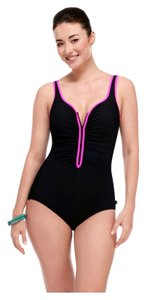 c73f2709c49 Reebok Size  8 Ruched Zipper-Front Chlorine-Resistant One-Piece Swimsuit