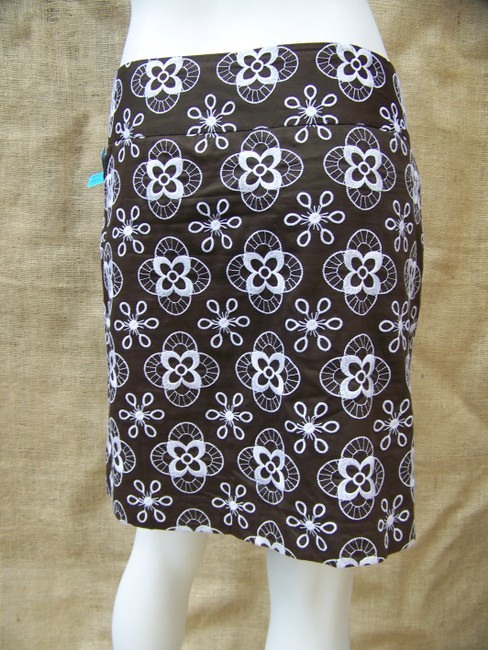 Ann Taylor LOFT Pencil Embroidered Floral Mini Mini Skirt Brown White