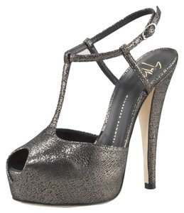 Giuseppe Zanotti Metallic T-strap Classic Evening Hidden Antracite Platforms