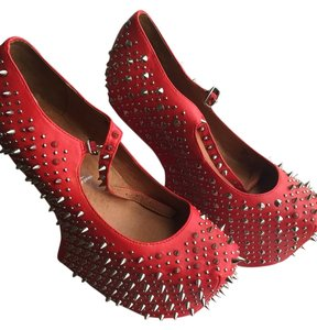 Jeffrey Campbell Red and Silver Wedges