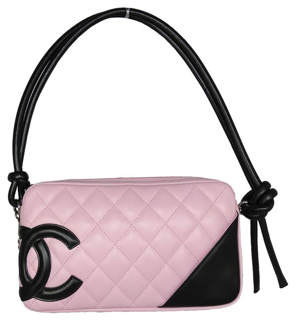 Item - Cambon Quilted Pochette Pink/Black Leather Baguette
