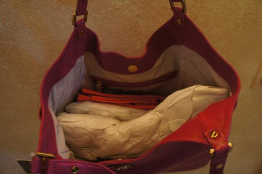 Tory Burch Leather Large Calfskin Golden Hardware Tote in Royal Fuchsia