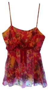 Anna Sui Top Bright pink, plum and marigold abstract print