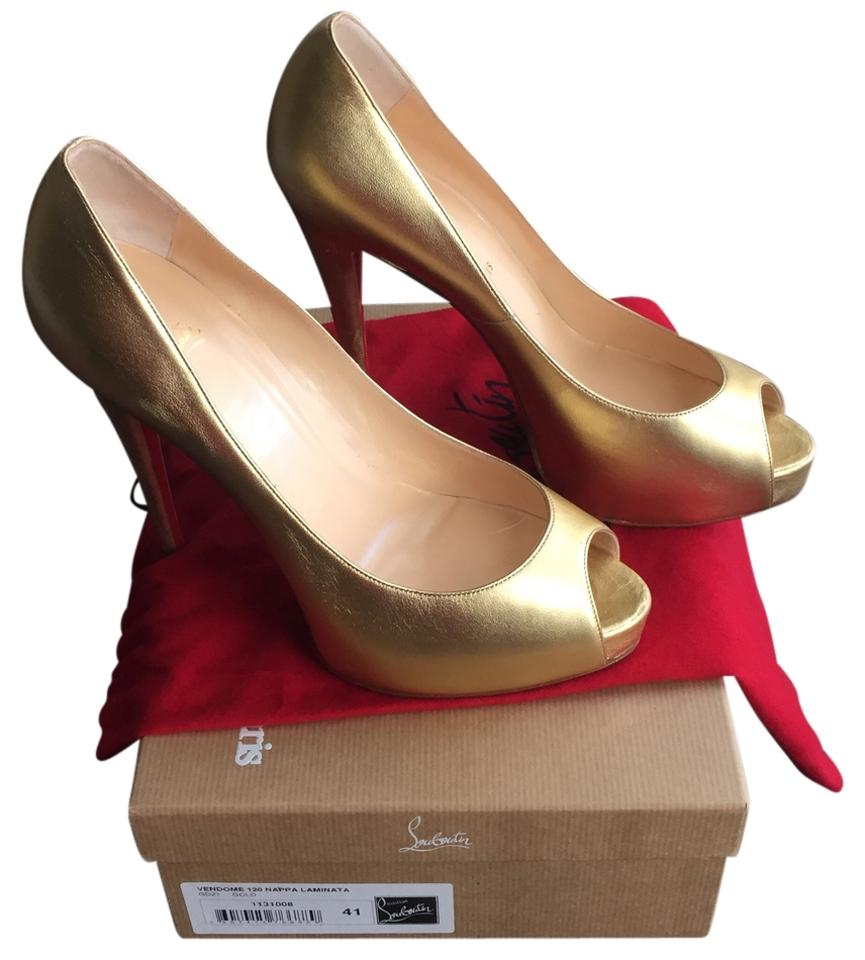 ad136dccd8f Christian Louboutin Metallic Gold Vendome Red Sole Platforms Size US 10.5  41% off retail
