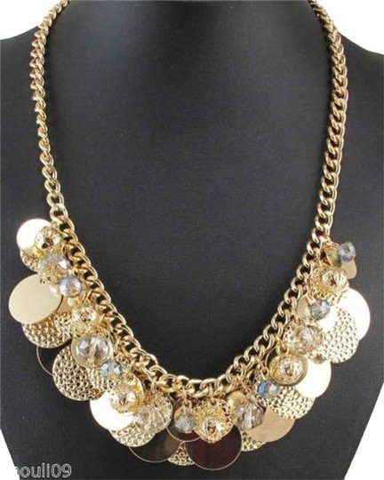 Other Gold Chunky Charm Statement Necklace