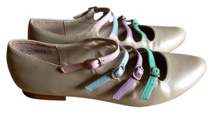Modcloth Rainbow Pastel Strappy Straps Buckles Buckle White Ivory Pink Baby Blue Lavander Cute Beige Flats