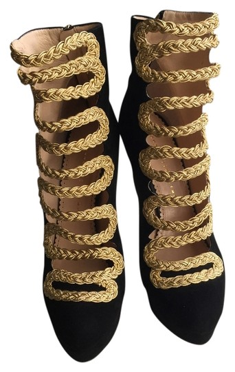 Preload https://img-static.tradesy.com/item/3486985/charlotte-olympia-black-and-gold-gwendolyn-suede-ankle-bootsbooties-size-eu-39-approx-us-9-regular-m-0-0-540-540.jpg