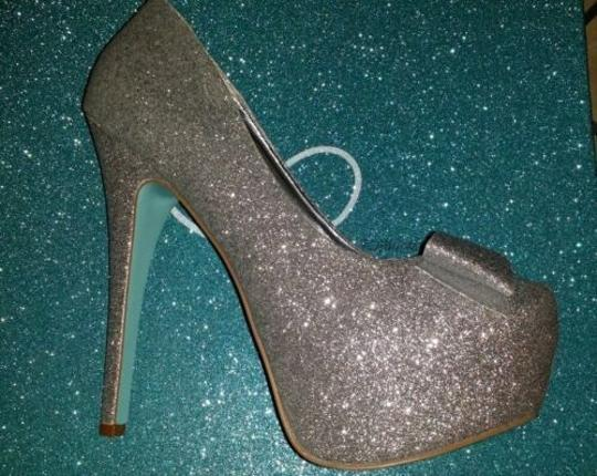Betsey Johnson Silver Platforms