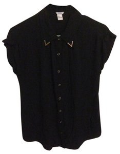 Forever 21 Button Down Short Sleeve Gold Button Down Shirt black
