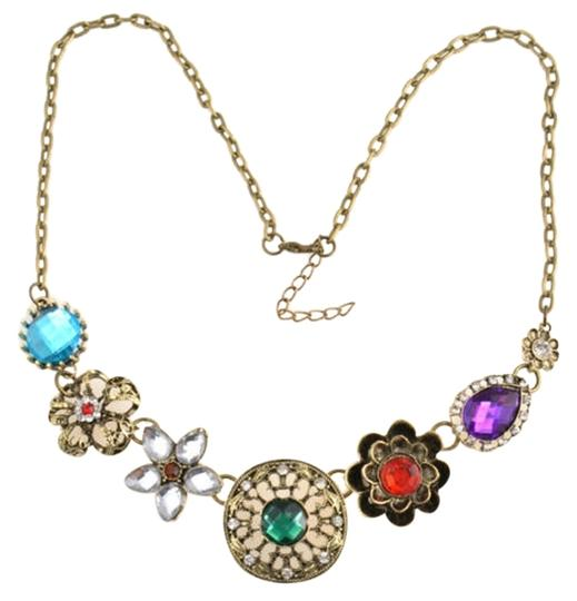 Other Colorful Floral Gem Statement Necklace