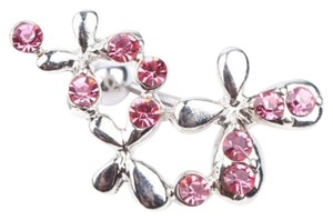 Pink Butterfly Crystal Ball Barbell Navel Belly Button Ring