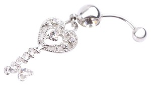 Silver Key Shape Crystal Dangle Navel Belly Ring
