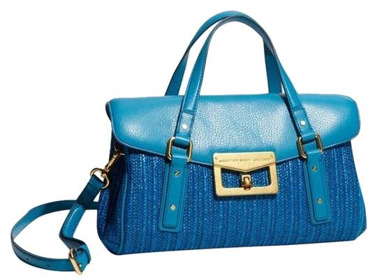 Preload https://img-static.tradesy.com/item/3487816/marc-by-marc-jacobs-electric-blue-leather-and-raffia-satchel-0-0-540-540.jpg