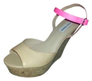 Steve Madden Leather Wedge Nude with neon pink strap Wedges