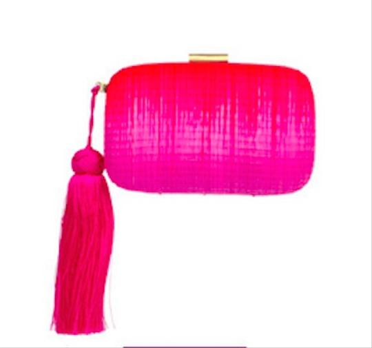 Serpui Straw Two Tone Handcrafted Brazilian Designer Pink with Red Clutch